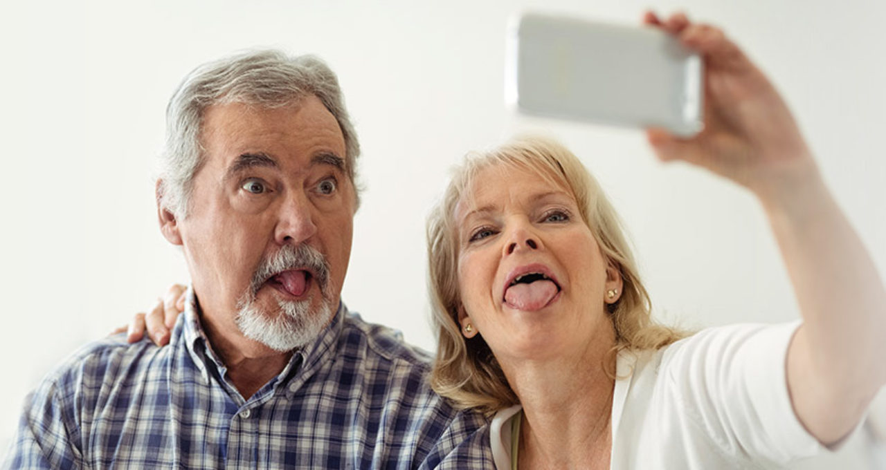 older couple being silly